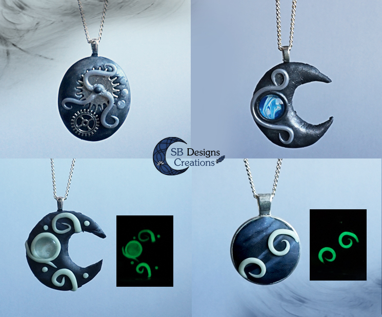 clay-pendants-jewelry-glowinthedark-marble-sbdesignscreations