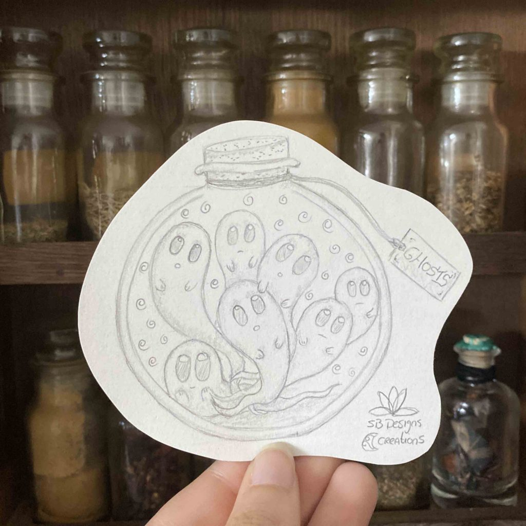 Little Ghosts in a Bottle Witchy Vibes Spiritual Art SB Designs Creations