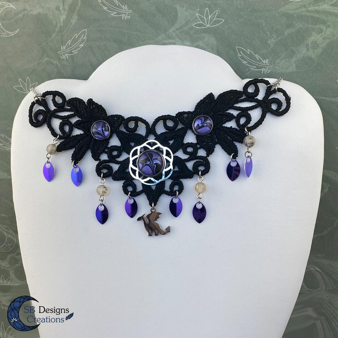 Dragon Choker - Lace Choker Purple - Stainless Steel-2